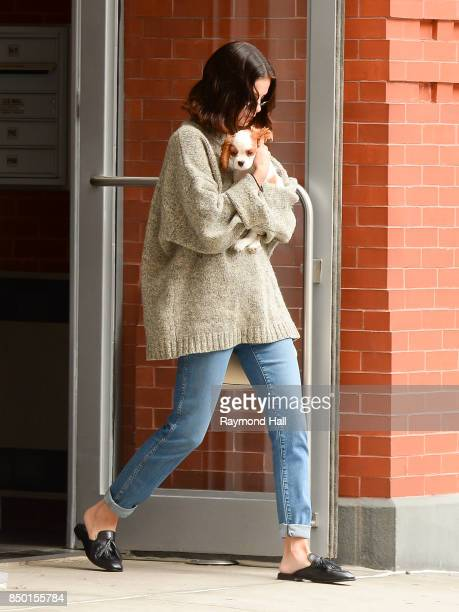 Actress/Singer Selena Gomez is seen with her dog walking in Soho on September 20 2017 in New York City