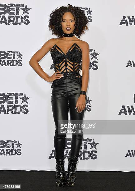 Actress/singer Serayah poses in the press room during the 2015 BET Awards at the Microsoft Theater on June 28 2015 in Los Angeles California