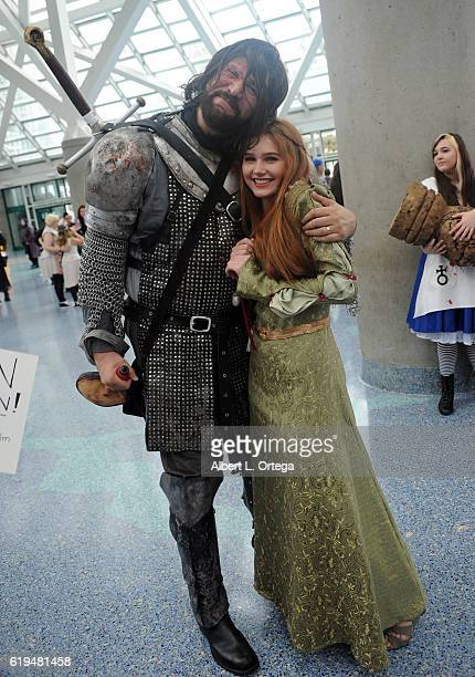 Actress/singer Serena Laurel dresses as Sansa Stark with fellow Game Of Thrones cosplayer at day 3 of Stan Lee's Los Angeles Comic Con 2016 held at...