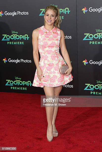 Actress/Singer Shakira attends the Premiere of Walt Disney Animation Studios' 'Zootopia' at the El Capitan Theatre on February 17 2016 in Hollywood...