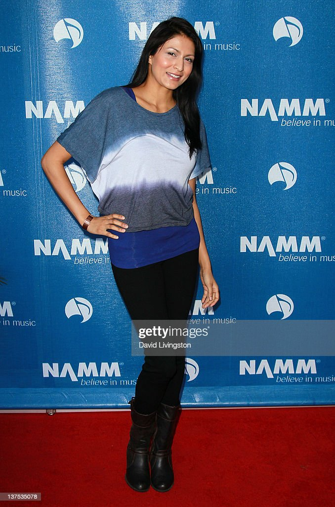 Actress/singer Tinsel Korey attends the 110th NAMM Show - Day 3 at the Anaheim Convention Center on January 21, 2012 in Anaheim, California.