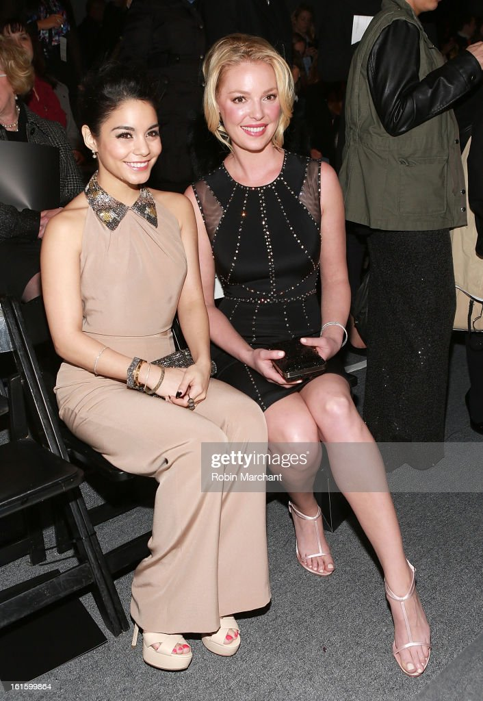 Actress/singer Vanessa Hudgens (L) and actress <a gi-track='captionPersonalityLinkClicked' href=/galleries/search?phrase=Katherine+Heigl&family=editorial&specificpeople=206952 ng-click='$event.stopPropagation()'>Katherine Heigl</a> attend Jenny Packham during Fall 2013 Mercedes-Benz Fashion Week at The Studio at Lincoln Center on February 12, 2013 in New York City.