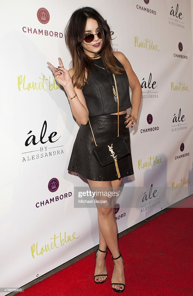 Actress/Singer Vanessa Hudgens arrives at Alessandra Ambrosio Launch of 'ale by Alessandra' at Planet Blue in Beverly Hills on March 13, 2014 in Los Angeles, California.
