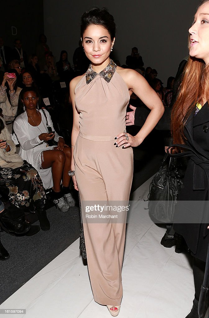 Actress/singer Vanessa Hudgens attends Jenny Packham during Fall 2013 Mercedes-Benz Fashion Week at The Studio at Lincoln Center on February 12, 2013 in New York City.