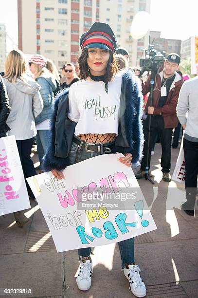 Actress/singer Vanessa Hudgens attends the women's march in Los Angeles on January 21 2017 in Los Angeles California