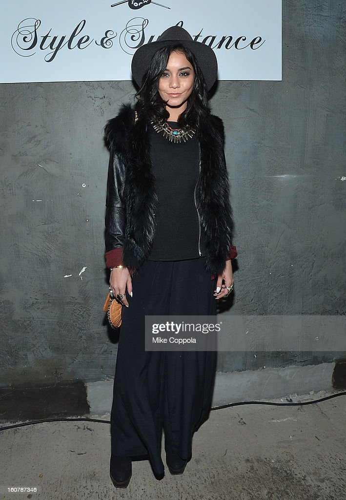 Actress/singer Vanessa Hudgens poses for a picture as John Varvatos Celebrates The New JohnVarvatos.com on February 5, 2013 in New York City, United States.