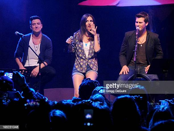 Actress/singer Victoria Justice James Maslow and Carlos Pena Jr of Big Time Rush perform at their press conference and tour announcement at House of...