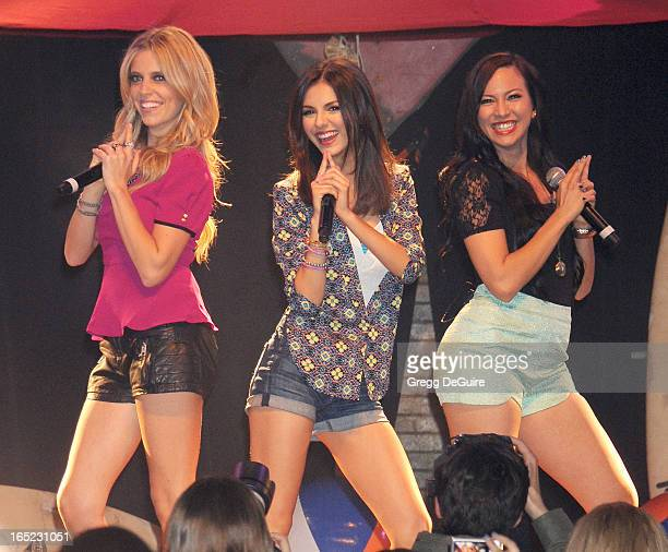 Actress/singer Victoria Justice performs at the Big Time Rush press conference and tour announcement at House of Blues on April 1 2013 in West...