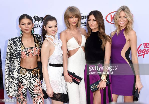 Actress/singer Zendaya actress Hailee Steinfeld musician Taylor Swift model Lily Aldridge and model Martha Hunt attend the 2015 Billboard Music...