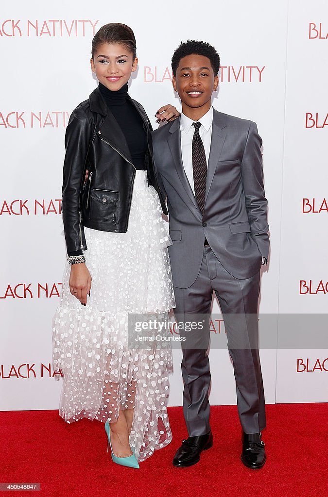 Actress/singer Zendaya and actor <a gi-track='captionPersonalityLinkClicked' href=/galleries/search?phrase=Jacob+Latimore&family=editorial&specificpeople=5410256 ng-click='$event.stopPropagation()'>Jacob Latimore</a> attend the 'Black Nativity' premiere at The Apollo Theater on November 18, 2013 in New York City.
