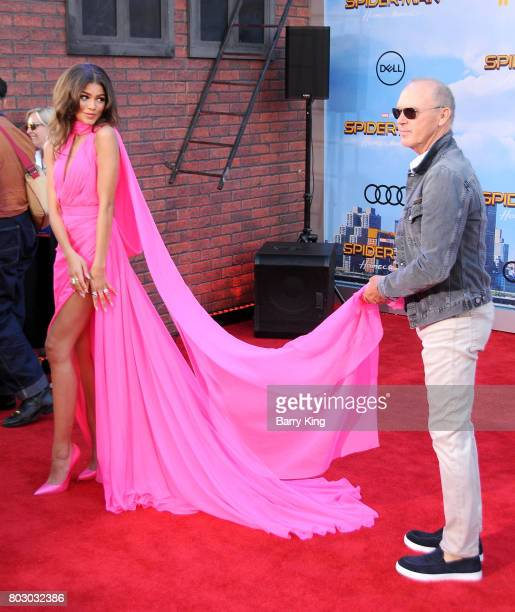 Actress/singer Zendaya and actor Michael Keaton attend the World Premiere of Columbia Pictures' 'SpiderMan Homecoming' at TCL Chinese Theatre on June...