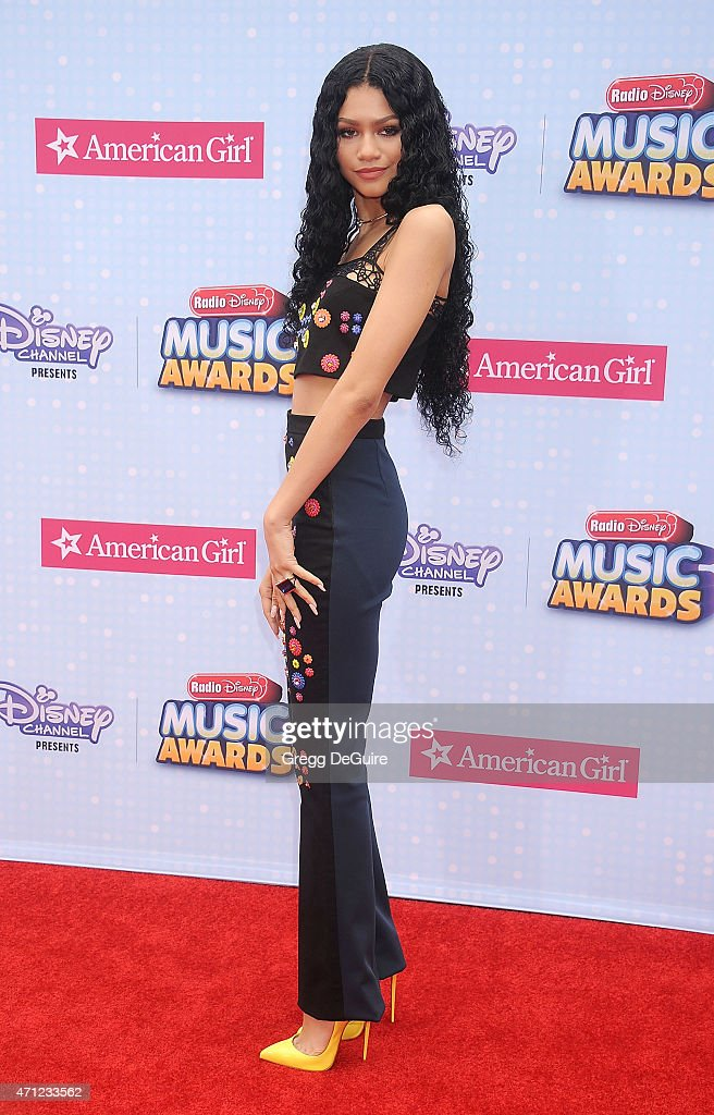 Actress/singer Zendaya arrives at the 2015 Radio Disney Music Awards at Nokia Theatre LA Live on April 25 2015 in Los Angeles California