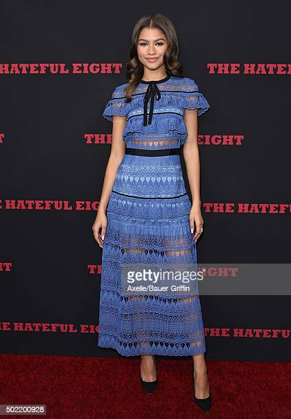 Actress/singer Zendaya arrives at the Los Angeles Premiere of 'The Hateful Eight' at ArcLight Cinemas Cinerama Dome on December 7 2015 in Hollywood...