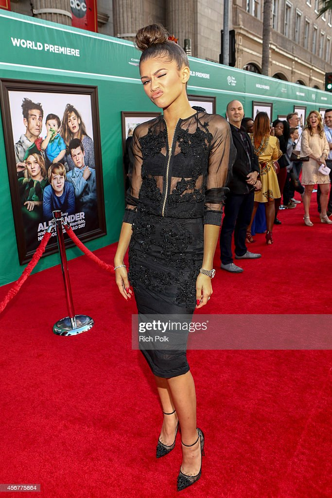 Actress/singer Zendaya attends The World Premiere of Disney's 'Alexander and the Terrible Horrible No Good Very Bad Day' at the El Capitan Theatre on...