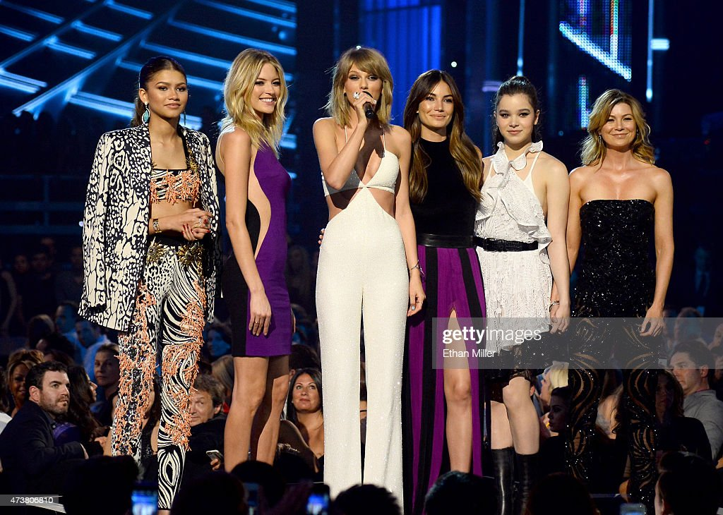 Actress/singer Zendaya model Martha Hunt recording artist Taylor Swift model Lily Aldridge and actors Hailee Steinfeld and Ellen Pompeo speak onstage...