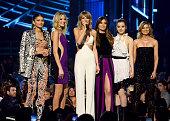 Actress/singer Zendaya model Martha Hunt recording artist Taylor Swift model Lily Aldridge and actors Hailee Steinfeld and Ellen Pompeo speak onstage...