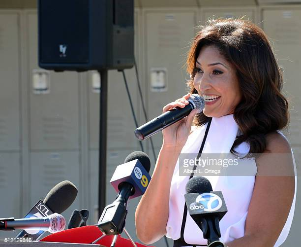 Actress/singer/host Bettina Bush speaks at the opening and dedication of the Charles V Bush Library held at Carden Conejo School on February 24 2016...