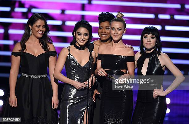 Actresssingers Kether Donohue Vanessa Hudgens Keke Palmer Julianne Hough and Carly Rae Jepsen speak onstage during the People's Choice Awards 2016 at...