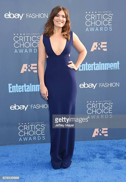 Actresssingersongwriter Mandy Moore arrives at The 22nd Annual Critics' Choice Awards at Barker Hangar on December 11 2016 in Santa Monica California