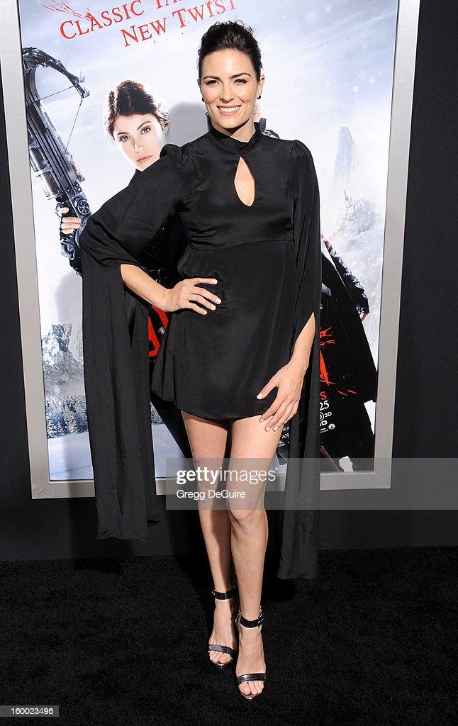 Actress/stunt woman Monique Ganderton arrives at the 'Hansel & Gretel: Witch Hunters' Los Angeles premiere at TCL Chinese Theatre on January 24, 2013 in Hollywood, California.