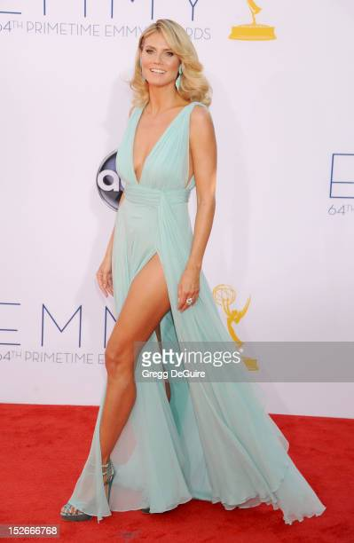 Actress/supermodel Heidi Klum arrives at the 64th Primetime Emmy Awards at Nokia Theatre LA Live on September 23 2012 in Los Angeles California