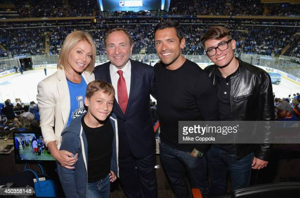 Actress/talk show host Kelly Ripa Joaquin Antonio Consuelos Commissioner of the National Hockey League Gary Bettman Actor Mark Consuelos and Michael...