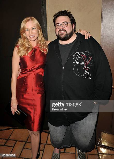 ActressTraci Lords and writer/director Kevin Smith pose at the afterparty for the premiere of Weinstein Company's 'Zack and Miri Make A Porno' at the...