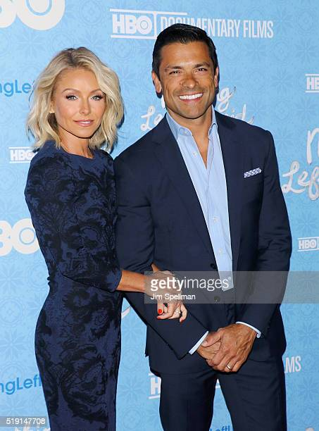 Actress/TV personality Kelly Ripa and actor Mark Consuelos attend the 'Nothing Left Unsaid' New York premiere at Time Warner Center on April 4 2016...