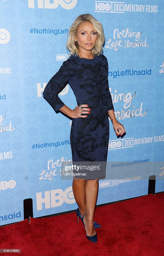 Actress/tv personality <a gi-track='captionPersonalityLinkClicked' href=/galleries/search?phrase=Kelly+Ripa&family=editorial&specificpeople=202134 ng-click='$event.stopPropagation()'>Kelly Ripa</a> attends the 'Nothing Left Unsaid' New York premiere at Time Warner Center on April 4, 2016 in New York City.