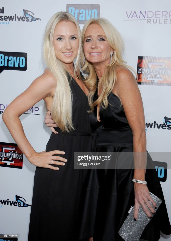 Actress/TV personality <a gi-track='captionPersonalityLinkClicked' href=/galleries/search?phrase=Kim+Richards&family=editorial&specificpeople=689572 ng-click='$event.stopPropagation()'>Kim Richards</a> and daughter arrive at 'The Real Housewives Of Beverly Hills' And 'Vanderpump Rules' premiere party at Boulevard3 on October 23, 2013 in Hollywood, California.