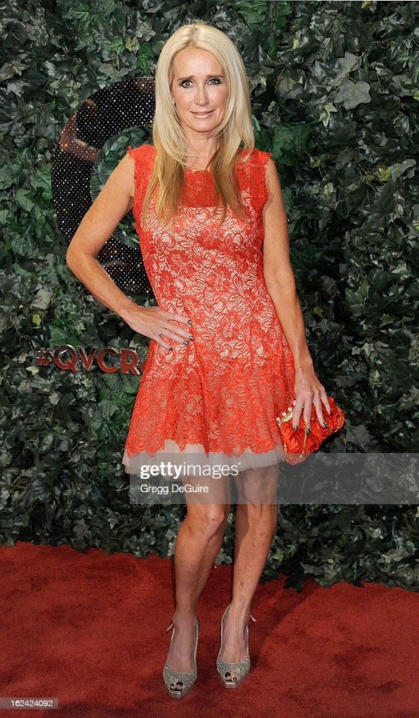 Actress/TV personality <a gi-track='captionPersonalityLinkClicked' href=/galleries/search?phrase=Kim+Richards&family=editorial&specificpeople=689572 ng-click='$event.stopPropagation()'>Kim Richards</a> arrives at the QVC 'Red Carpet Style' party at Four Seasons Hotel Los Angeles at Beverly Hills on February 22, 2013 in Beverly Hills, California.