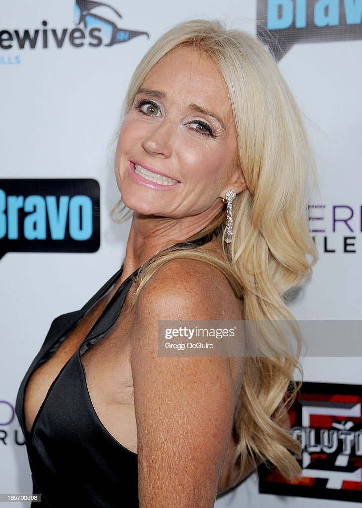 Actress/TV personality <a gi-track='captionPersonalityLinkClicked' href=/galleries/search?phrase=Kim+Richards&family=editorial&specificpeople=689572 ng-click='$event.stopPropagation()'>Kim Richards</a> arrives at 'The Real Housewives Of Beverly Hills' And 'Vanderpump Rules' premiere party at Boulevard3 on October 23, 2013 in Hollywood, California.