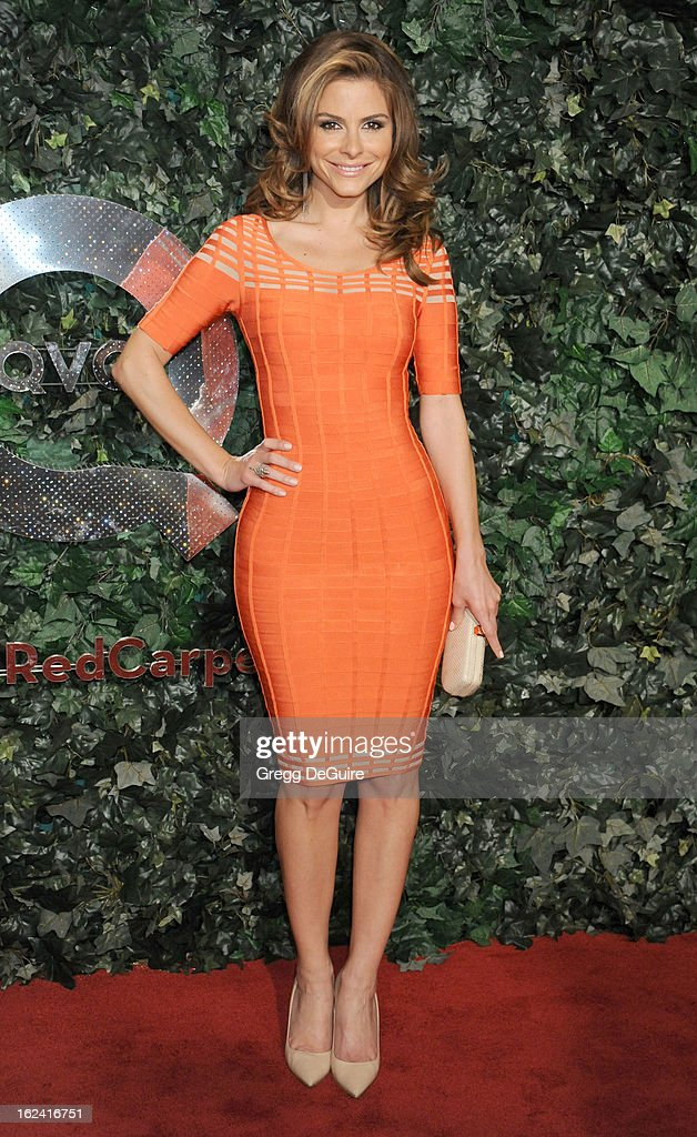 Actress/TV personality Maria Menounos arrives at the QVC 'Red Carpet Style' party at Four Seasons Hotel Los Angeles at Beverly Hills on February 22, 2013 in Beverly Hills, California.