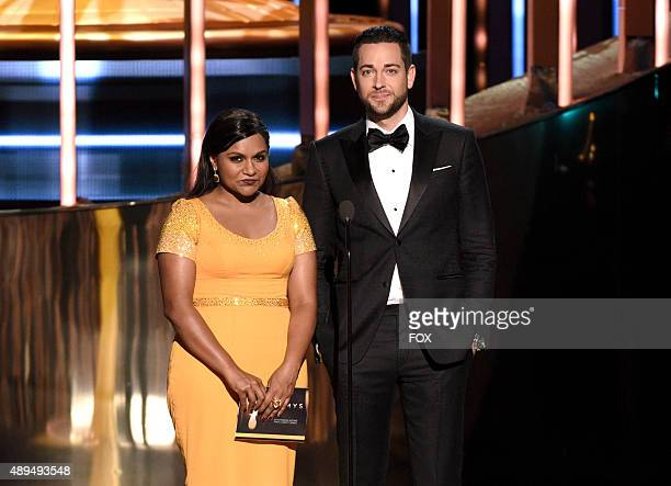 Actress/writer Mindy Kaling and actor Zachary Levi speak onstage during the 67th Annual Primetime Emmy Awards at Microsoft Theater on September 20...