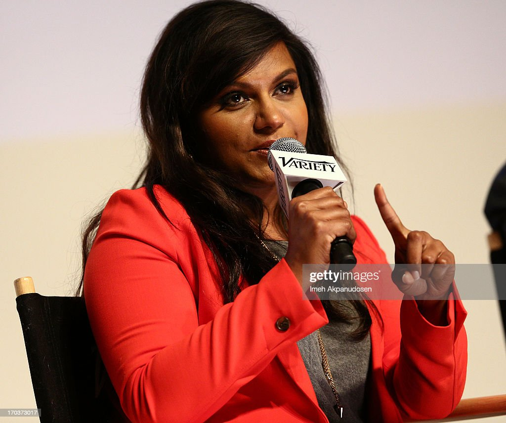 Actress/writer <a gi-track='captionPersonalityLinkClicked' href=/galleries/search?phrase=Mindy+Kaling&family=editorial&specificpeople=743884 ng-click='$event.stopPropagation()'>Mindy Kaling</a> speaks onstage during Variety's A Night In The Writers' Room at Writers Guild Theater on June 11, 2013 in Beverly Hills, California.