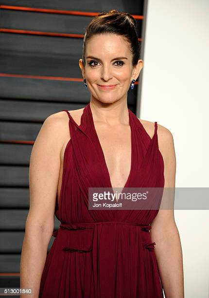 Actress/writer Tina Fey attends the 2016 Vanity Fair Oscar Party hosted By Graydon Carter at Wallis Annenberg Center for the Performing Arts on...