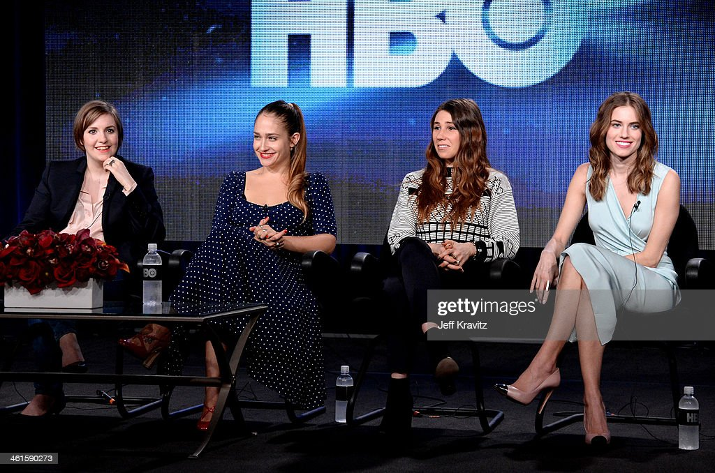Actress/writer/executive producer Lena Dunham actresses Jemima Kirke Zosia Mamet and Allison Williams speak onstage at the 'Girls' panel during the...