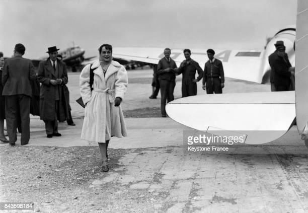 L'actrice américaine Paulette Goddard à son arrivée au Bourget France en 1946
