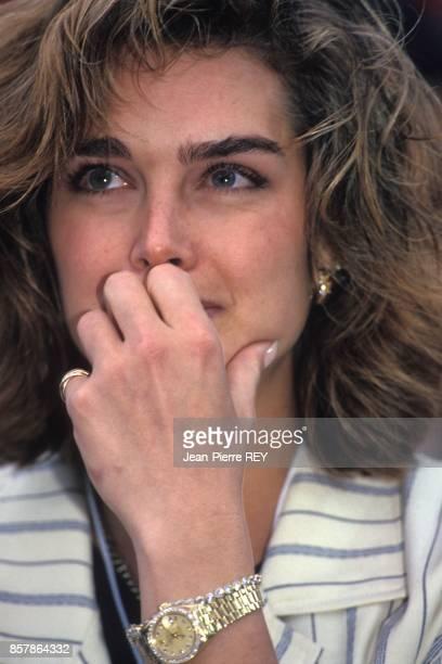 L'actrice Brooke Shields au tournoi de tennis de Monte Carlo le 20 avril 1994 a Monaco