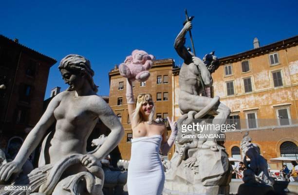 L'actrice italenne Ilona Staller alias 'La Cicciolina' à Rome le 17 juin 1987 Italie