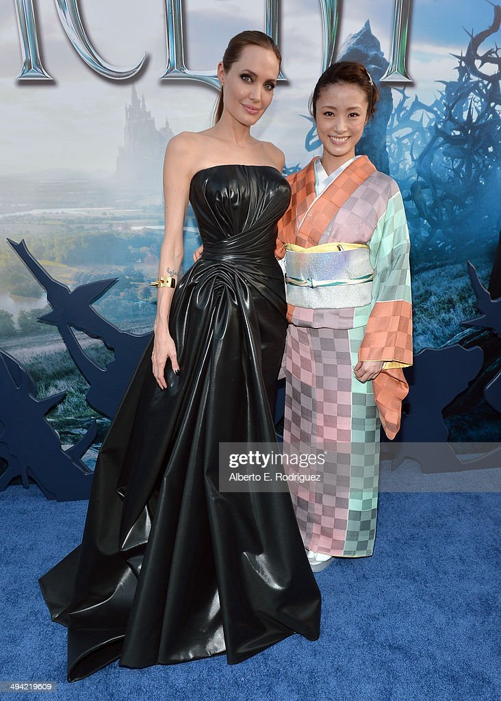 Actrors Angelina Jolie and Aya Ueto attend the World Premiere of Disney's 'Maleficent', starring Angelina Jolie, at the El Capitan Theatre on May 28, 2014 in Hollywood, California.