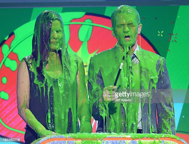 Actrors Sandra Bullock and Neil Patrick Harris speak onstage at Nickelodeon's 26th Annual Kids' Choice Awards at USC Galen Center on March 23 2013 in...