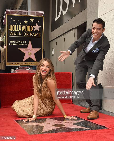 Actrtess Sofia Vergara poses with her son Manolo GonzalezRipoll Vergara as she is honored on The Hollywood Walk Of Fame on May 7 2015 in Hollywood...