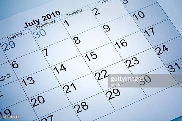 Actual calendar of July 2010