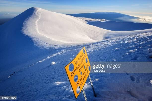 Actual summit of Mauna Kea on left, tallest mountain in Hawaii.