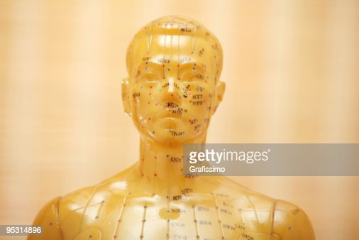 Acupuncture male model head : Stock Photo
