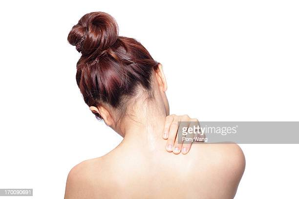 Acute pain in a woman shoulder