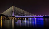Beautiful Ada bridge in Belgrade, Serbia at night
