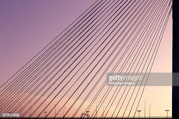Ada Bridge sunset detail, Belgrade, Serbia