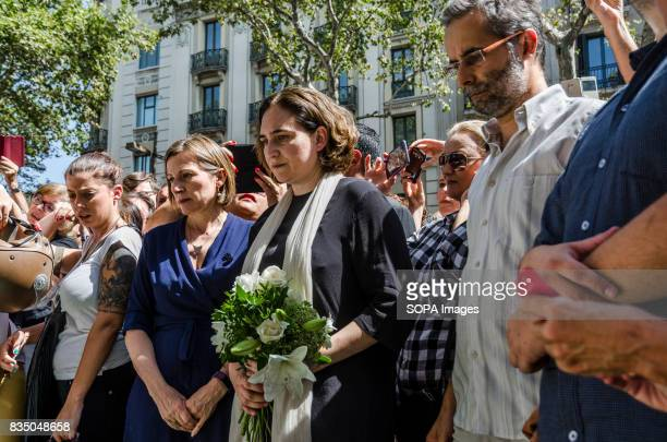 Ada Colau the Barcelona Mayor is pictured while laying flowers at the place of the attack Hundreds of people attend the vigil and a minute of silence...